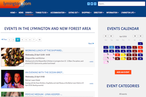 Lymington Events Calendar