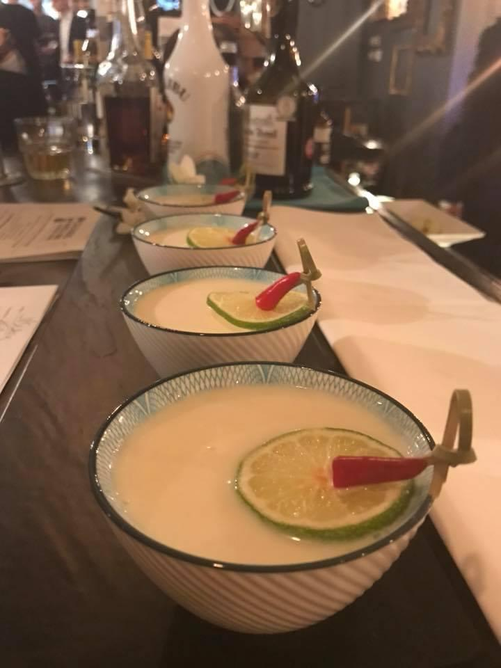 Thai Twist, a Calvados cocktail with sweet red chilli, coriander and lemongrass syrup, lime juice, Malibu and double cream.
