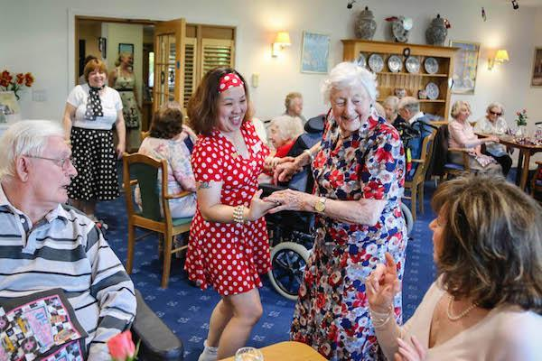 Dance moves: Resident Betty Parker with Companionship Team Leader Rose Arcellana.