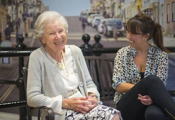 Residents enjoy catching up in The Street at Linden House