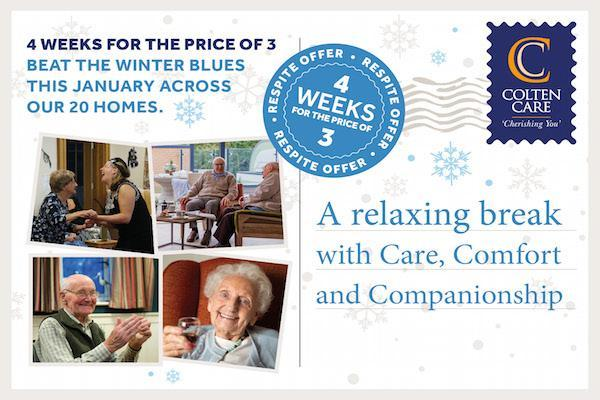 4 weeks for the price of 3 short stay respite care at Colten Care home