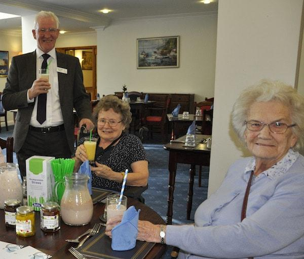 LAST STRAW. Colten Care has replaced all single-use plastic straws from its catering services with ones that are fully biodegradable. This will remove around 480,000 pieces of plastic a year.  Fergus Davitt, Colten Care's Hotel Services Manager, tries out the new straws with Colten Care residents.