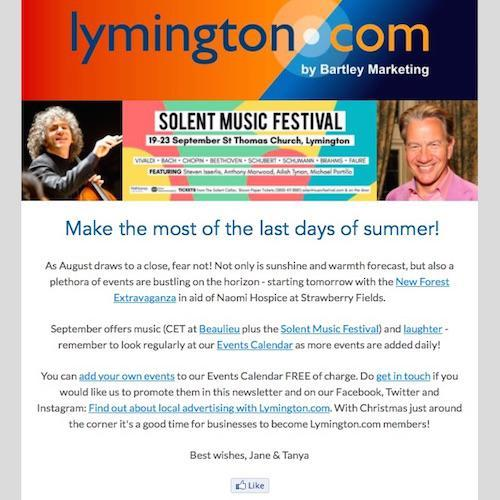 Lymington Newsletter 31 August 2018