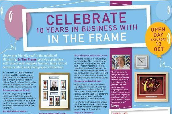 In The Frame Highcliffe Open Day to celebrate 10 years in business