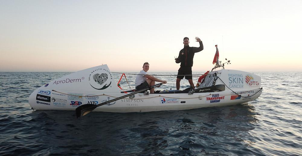 Ocean Brothers on their ocean rowing boat