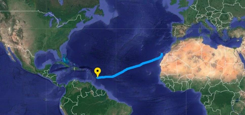 9March tracker showing Ocean Brothers progress across the Atlantic Ocean