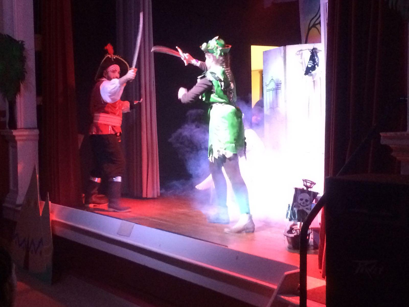 Peter Pan and Captain Hook perform at East Boldre Village Hall