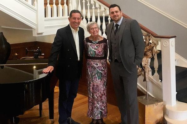 Adam Terpening (Charity Director – Room to Reward) Hidden Hero Denise and Michael Clitheroe (GM of Balmer Lawn Hotel) at The Balmer Lawn Hotel and Spa.