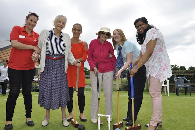 Among the Court Lodge party visiting Lymington Croquet Club are, from left, Colten Companion Catherine Loubser, resident Eileen Simpson, Home Manager Sam Reid, resident Phyllis Walbanke, Customer Advisor Hayley McMillan and Clinical Lead Sheeja Lolamony.