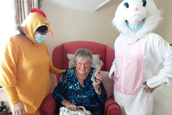 Easter chick and bunny with older lady