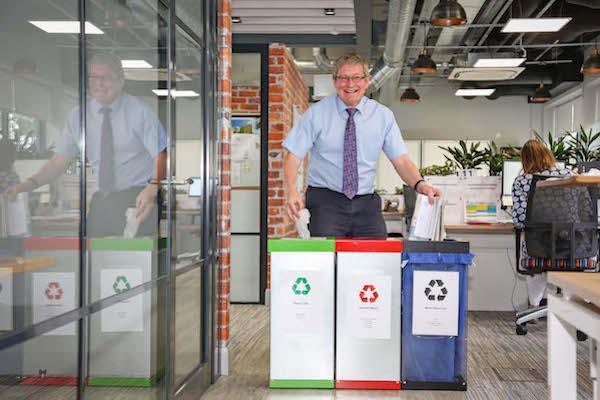 Colten Care is replacing plastic recycling sacks at its Ringwood head office with reusable fabric ones. Purchasing Manager Harvey Baker tries out the system.