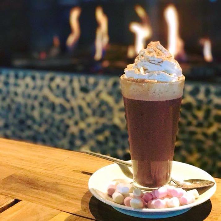hot chocolate at the Haven in front of the fire