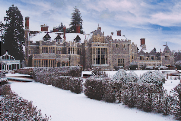 Rhinefield House Hotel in the snow