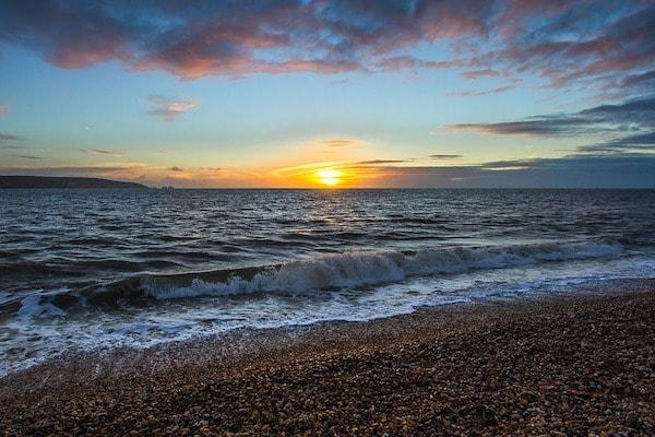 Sunset at Hordle Cliff beach near Lymington