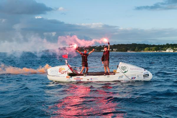 The Ocean Brothers reached Barbados on 11 April 2018 after 53 days rowing the Atlantic - photo Adam Rowley Creative