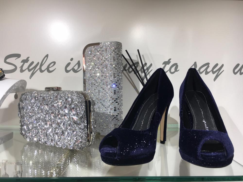 Shoes and clutch purses at Belle Ella
