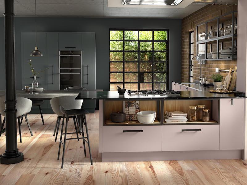 Crestwood of Lymington kitchen - Belllever in Matt Dry Rose/Dust Grey