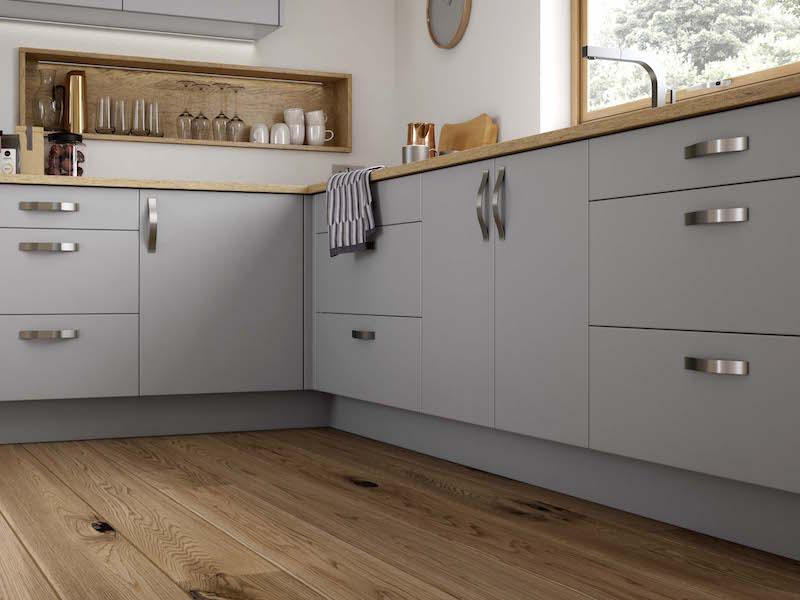 Crestwood of Lymington kitchen - Croyde in Matt Dust Grey / Cameo