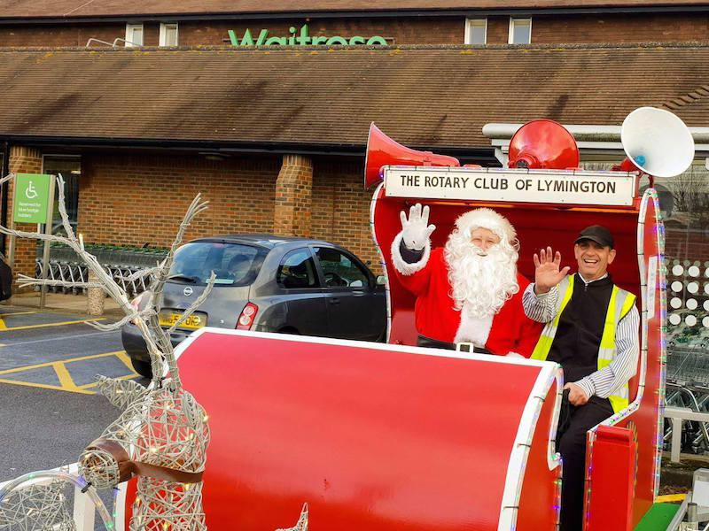 Santa's sleigh at Waitrose in Lymington